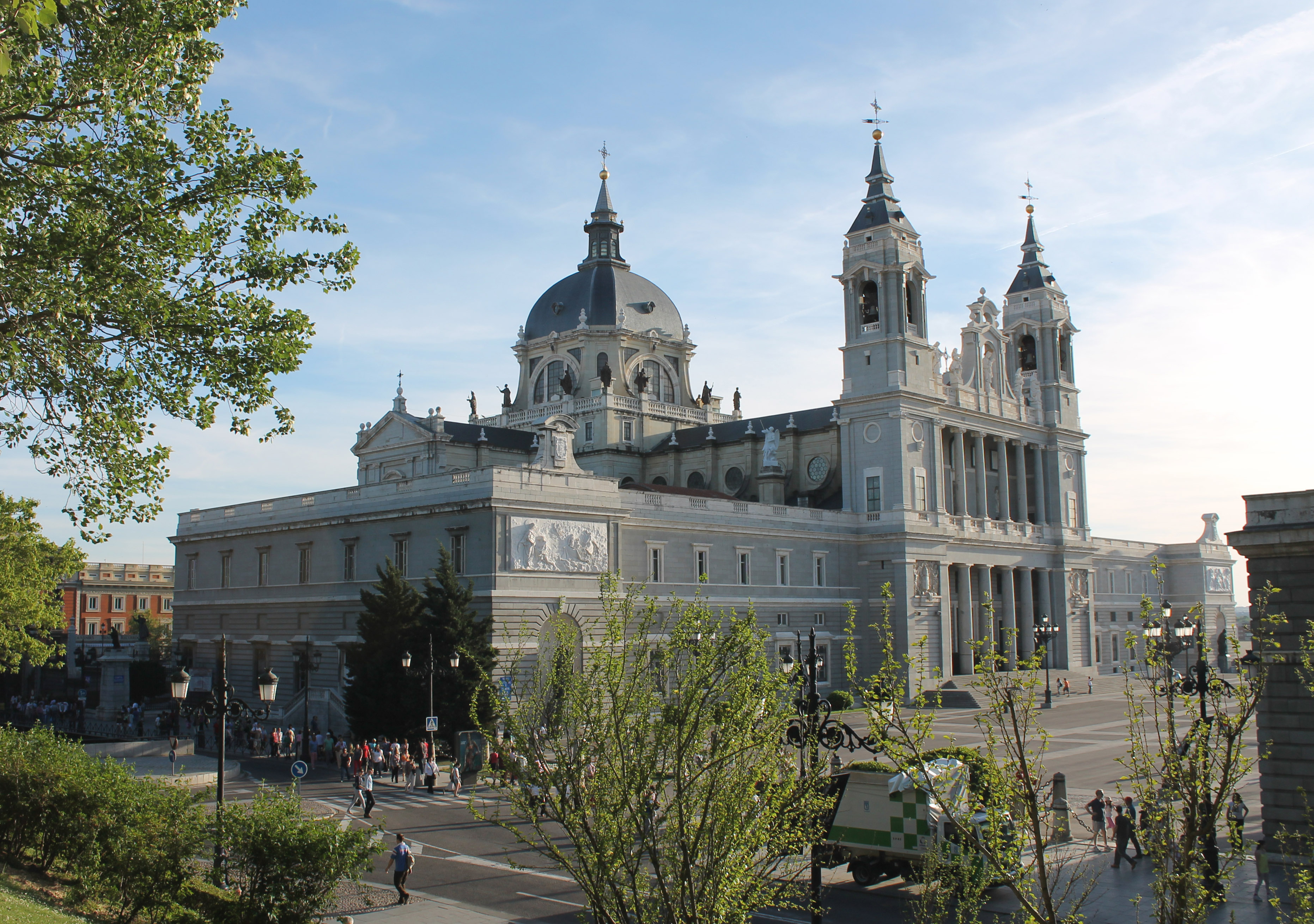Almudena Cathedral in Madrid (Spain) from the north-east angle.